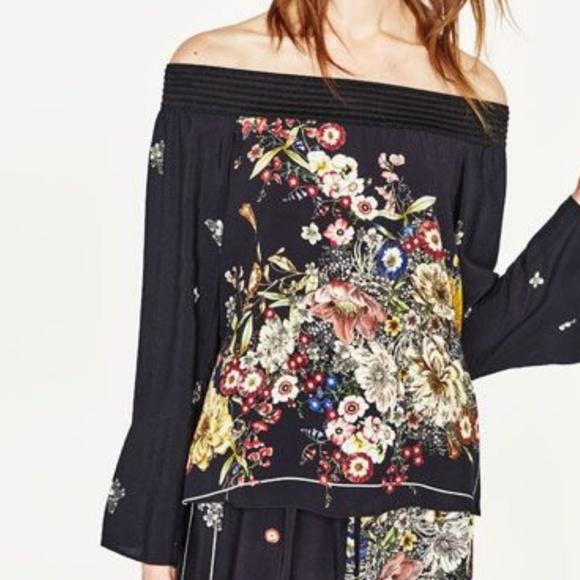 Zara Tops - Zara Woman Floral Print OTS Top